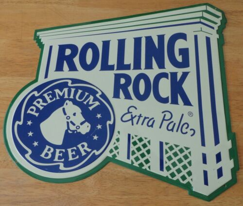 Rolling Rock Extra Pale Premium Beer Metal Tin Bar Pub Sign 2000 Latrobe Brewing