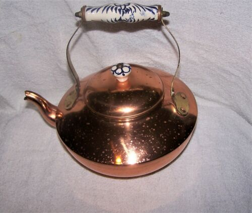 Vintage Solid Copper Tea Kettle with Ceramic Handles Made in Portugal