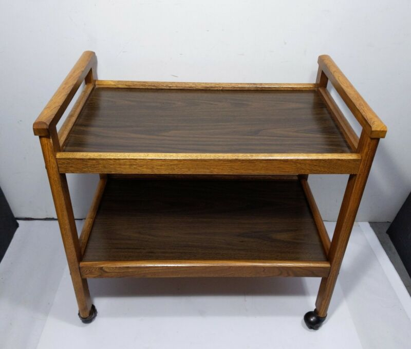 Vintage Mid Century Modern 2-Tier Wood Rolling Bar Serving Cart Rustic Mission A