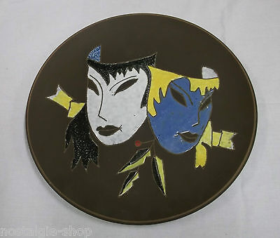 Ruscha Ceramic Plate Mask Black Handmade Decorative Plate Wall Plate RARE