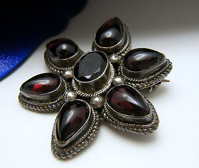 Vintage Sterling Silver Garnet Cabochon Brooch Pin on Lookza