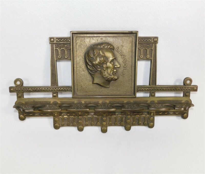 VINTAGE LINCOLN JUDD CAST IRON TOBACCO SMOKING PIPE WALL RACK HOLDER 1920s