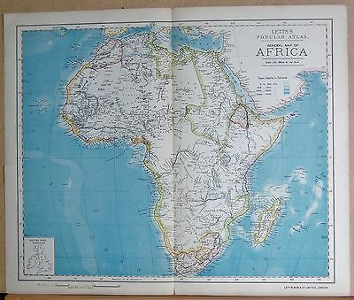 1883  LARGE ANTIQUE MAP GENERAL MAP OF AFRICA