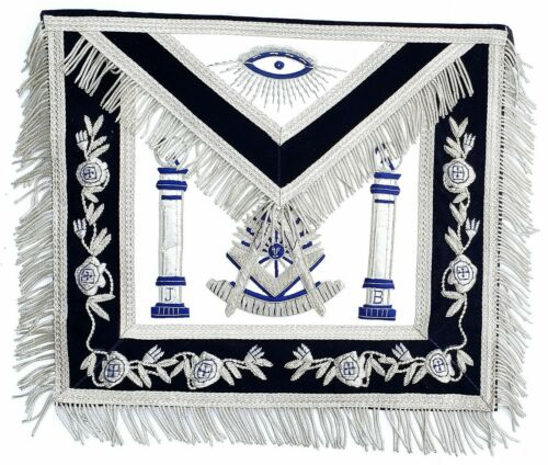 Hand MADE SILVER Bullion Masonic Past Master Embroidered Aprons Apron HIGH END