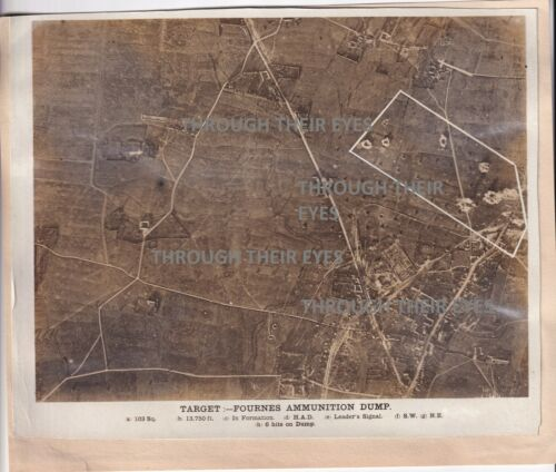 2 Original WW1 Aerial photos Bombing Rosierers & Fournes Ammunition Dump 1918