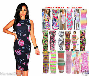 Womens-Ladies-Sam-Faiers-Sleeveless-Summer-Bodycon-Midi-Dress-8101214161822-Plus