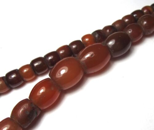 "19"" STRAND OF RARE MYSTICAL ANCIENT SMALL ""MIZORAM"" CARNELIAN AGATE BEADS"