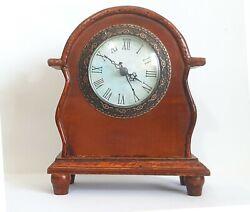 Vintage Mantle Clock with Beautiful Wood Inlay and Veneer