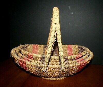 VTG Hand Woven Twisted Wicker Fireside Baskets NESTING (3) Oval Jute