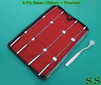 Bakes Rosebud Urethral Sounds Set - 3mm 4mm 5mm 6mm Pinwheel