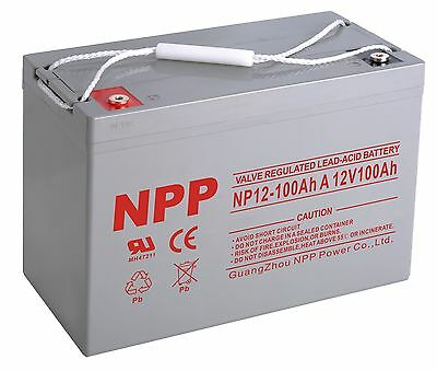 NPP 12V 100Ah Sealed Poseidon's kingdom Cycle AGM Battery Solar, RV, Off Grid