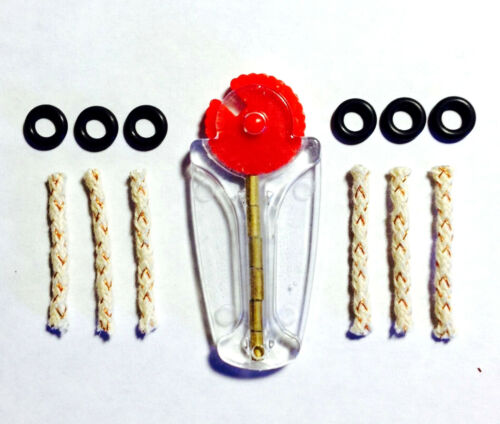 Scripto VU Lighter Repair Parts Restoration Kit 6 Fill Screw Seals,Wicks,Flints