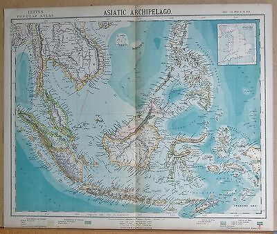 1883  ANTIQUE MAP ASIATIC ARCHIPELAGO CELEBES BORNEO SUMATRA TIMOR JAVA