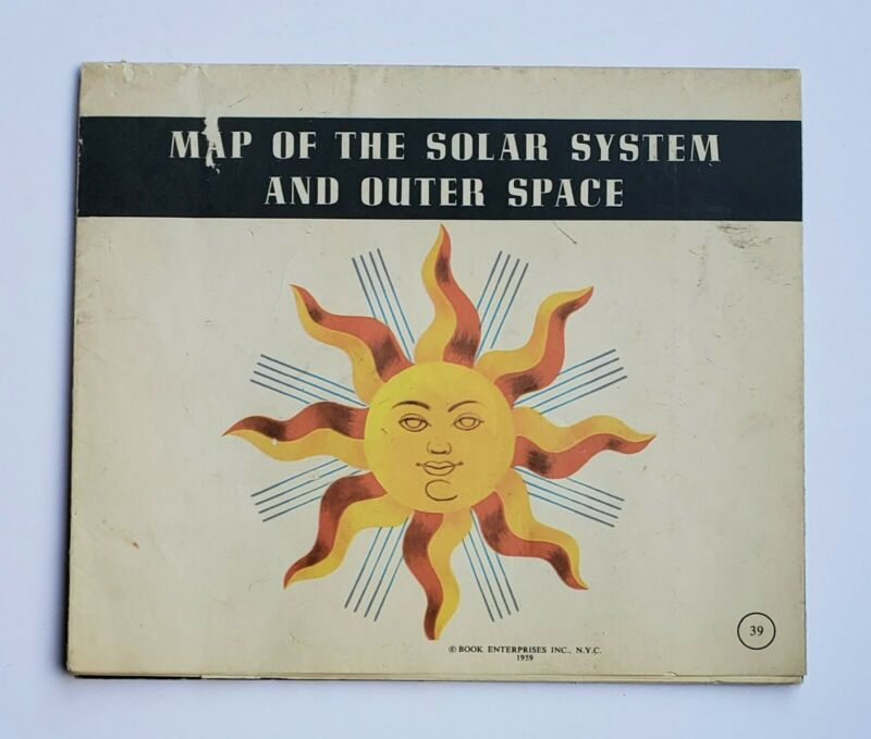 MAP OF THE SOLAR SYSTEM AND OUTER 1959 SPACE VINTAGE