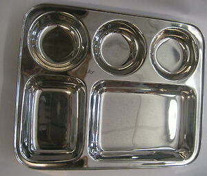 5 compartment stainless steel indian thali dish food tray dinner plate ebay. Black Bedroom Furniture Sets. Home Design Ideas