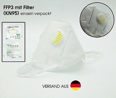 FFP3 KN95 Atemschutzmaske m. Ventil Mundschutzmaske Gesichtsmaske Feinstaubmaske