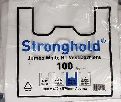 Pack of 100 White Stronghold Jumbo Plastic Vest Carrier Bags 12x19x23