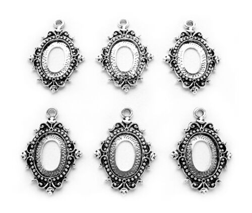 6 Antiqued Silvertone ENCHANTED 18mm x 13mm CAMEO PENDANT or Earrings Settings
