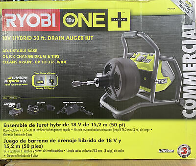 Ryobi 18-volt One Hybrid Drain Auger Kit With 50 Ft. Cable 2 Ah Battery .. B5