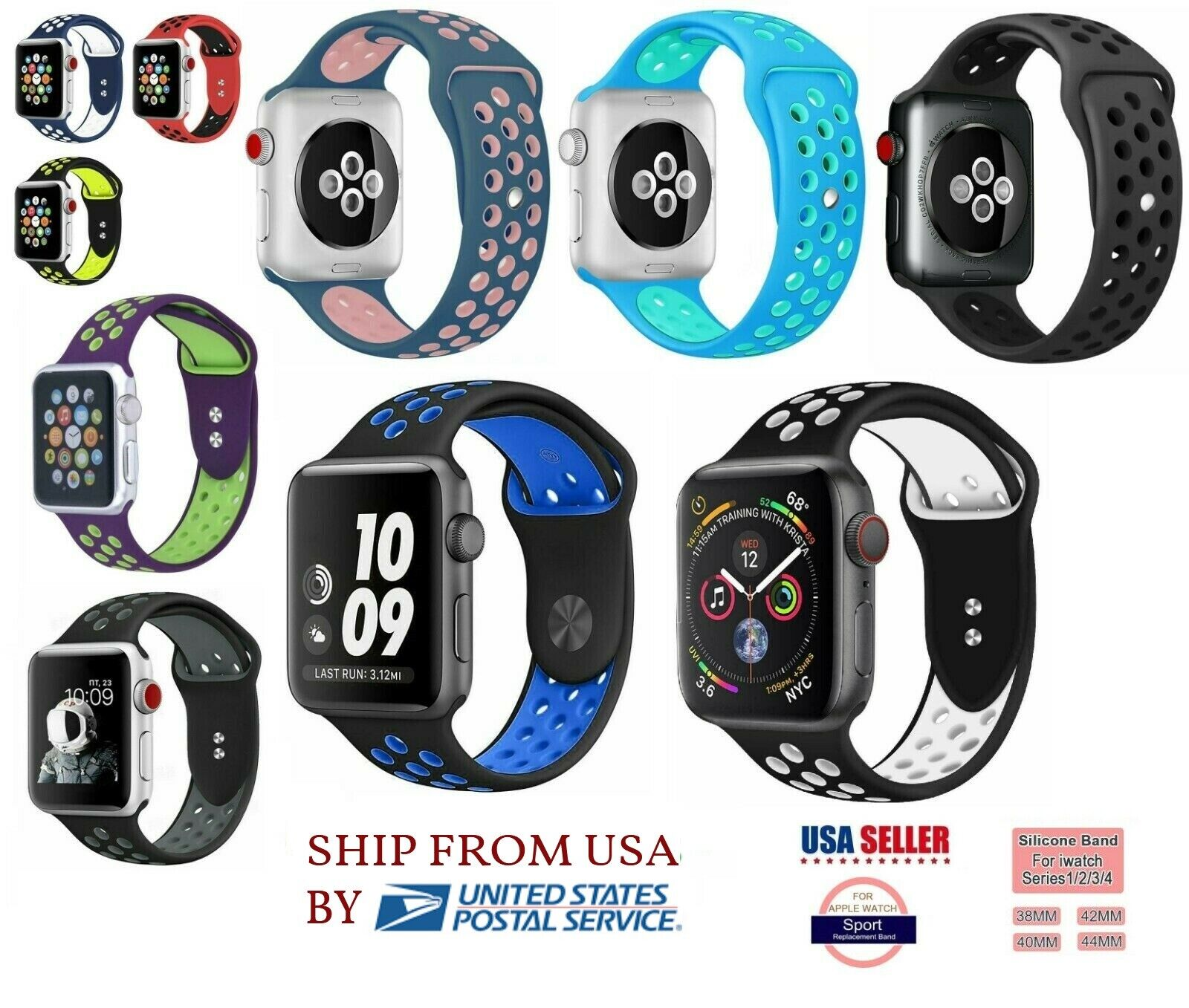 Ipm 38 Mm Soft Silicone Replacement Sports Band For Apple Watch Antique White For Sale Online Ebay