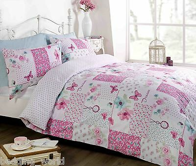 BUTTERFLY PATCHWORK BEDDING SET DREAM FLOWERS ROSES SQUARES POLKA DOTS PINK BLUE Polka Rose Square
