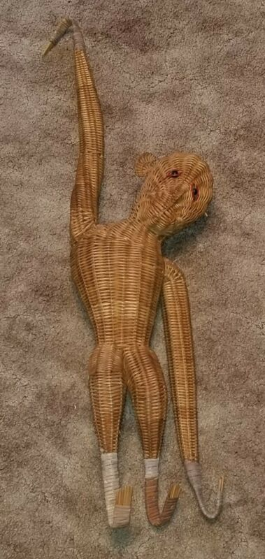 "Vintage Wicker Rattan Hanging Monkey - 32"" Long"
