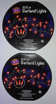 18+ Halloween Parties Ct (NEW lot of 2 200ct Garland Lights Orange Halloween Party Holiday 18ft)