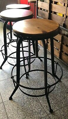 Industrial Bar Stool Rustic Metal Wood Round Adjustable Height