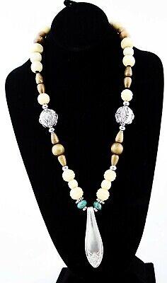 ette Handarbeit Design Holzperlen Halsketten Antik Sterling (Western Perlenketten)