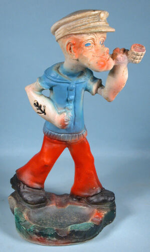 1930s Popeye the Sailor Ceramic Carnival Figure with Ashtray Statue Chalkware