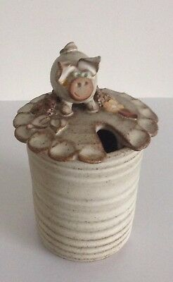 Lovely Studio Pottery Jam / Marmalade Hand Thrown Pot With Piggy Lid - CR 82