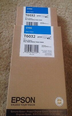 (2) Epson Genuine 220ml T6032. Cyan. Brand New! NIB. Lot Of 2. Stylus Pro 7800 + for sale  Shipping to Canada
