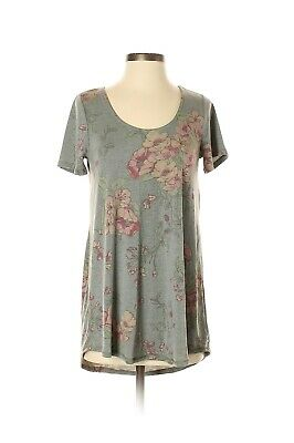 NWT Agnes and Dora Small Everyday Tee Shirt Top Gray Floral Print Pink Flowers