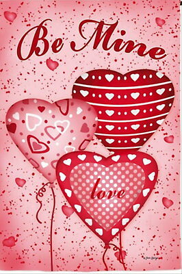 NEW 2-SIDED EVERGREEN GARDEN FLAG VALENTINE'S DAY BE MINE HE