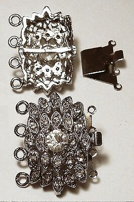 - 25 Crystal rhinestones victorian style white gold plated 4 strand clasp fpc155
