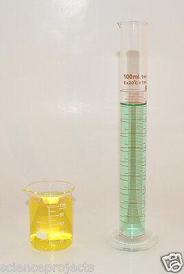 Beaker 100ml Cylinder 100ml Set Borosilicate Glass Lab Glass Griffin New