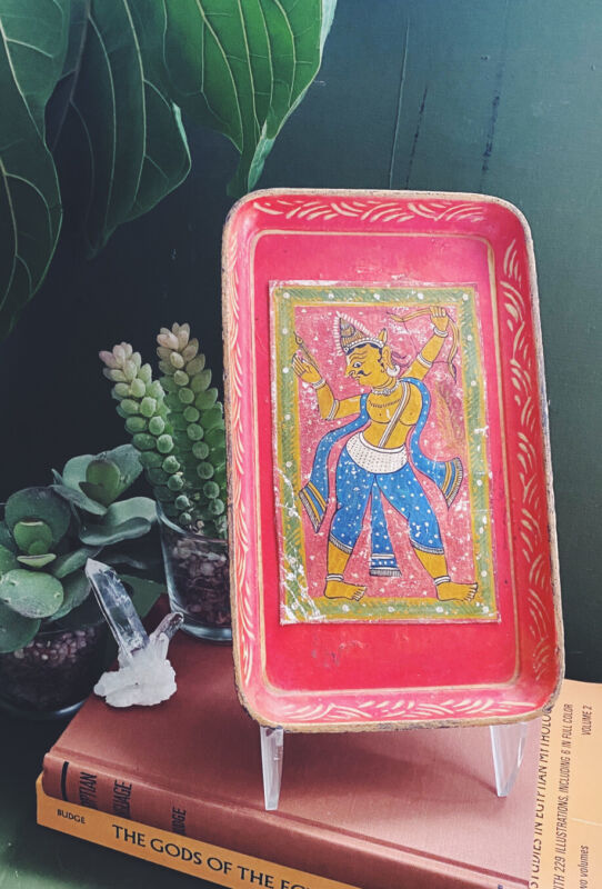 1940s Rama Small Red Paper Mache Art Tray Hindu Painting Occupied Japan Rolling