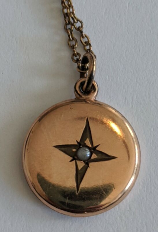 Antique Victorian Gold Filled Seed Pearl Charm Pendant