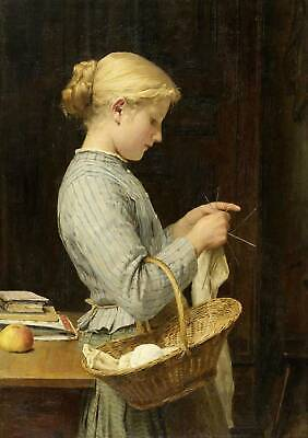 Young Lady Sewing By Albert Anker - $15.95