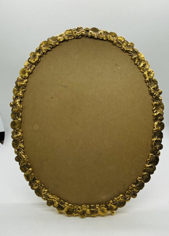 Vintage Ornate Filigree Picture Photo FRAME Cast Brass Metal Antique Gold Oval