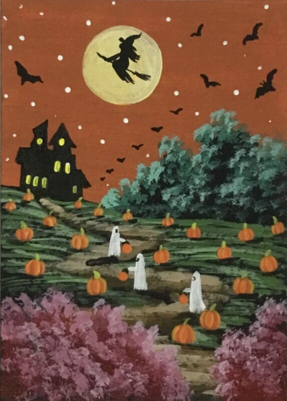 ACEO Original Halloween Gouache & Acrylics Sketch Card Trick-r-treating ghosts