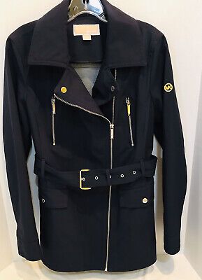 MICHAEL KORS Womens Navy Blue Belted Trench Rain Coat Size Medium