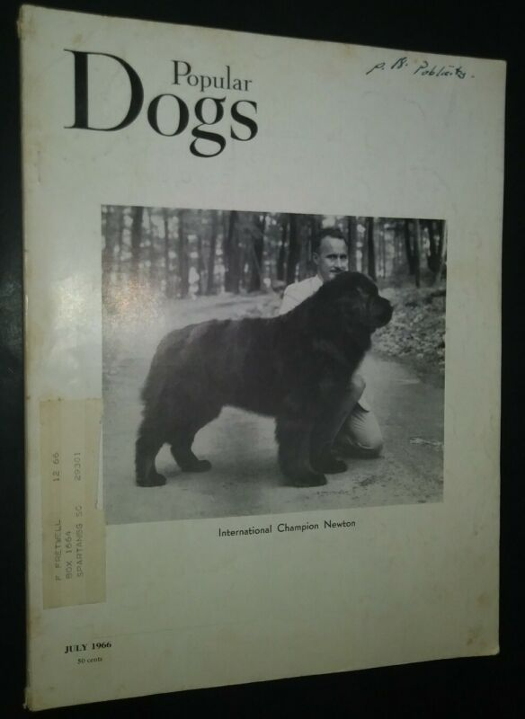 Popular Dogs Illustrated Magazine Newfoundland Cover + Champion Photos July 1966