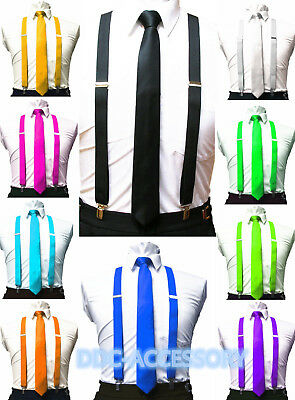 Ties And Suspenders ( Mens Ties skinny tie and suspenders set men's clip-on back longer necktie)