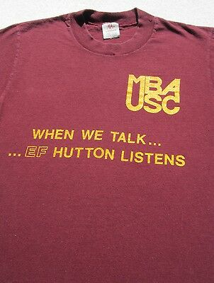 Vintage Usc Mba When We Talk  Ef Hutton Listens X Small T Shirt Vtg Trojans
