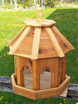 Very large handmade cedar wood gazebo style bird feeder,  TBNUP