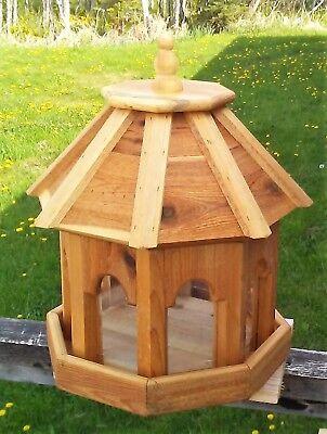 Very large handmade cedar wood gazebo style bird feeder,  TBNUP