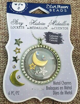 Blue Moon Beads Story Lockets Metal Charms - CELESTIAL -  Set of 5 Pieces - NEW!