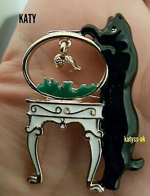 Fab Vintage Style Large Lucky Black Cat JEWELLERY BROOCH Pin Wedding Bridal Gift