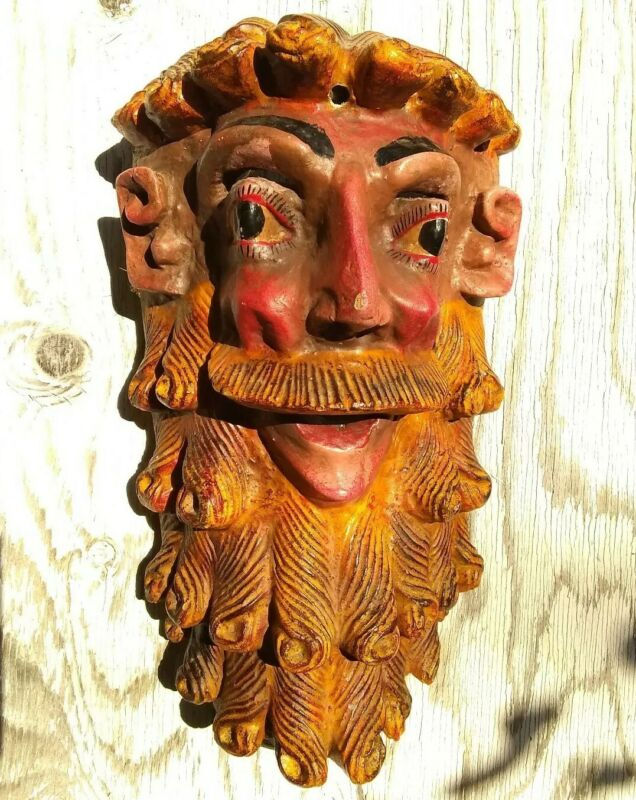 Vintage Mexican Mask Carved & Painted Wood Guerrero Mexico Hermit Mask